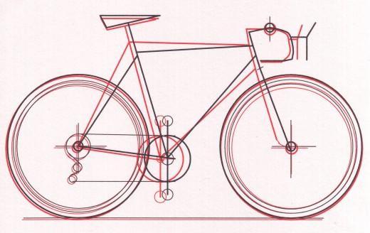 Relative Bike Fit of two bikes.  Red bike line= Kurahara Road Bike Black Line = Vision Orion Road Bike