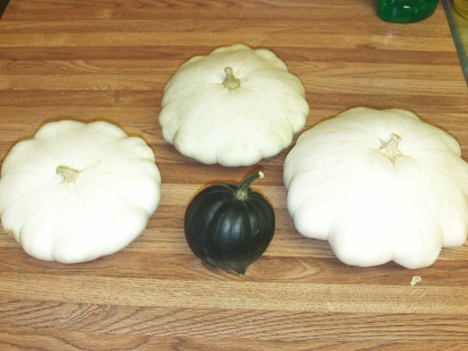 Another picture of the three patty pan squash surrounding the acorn squash.