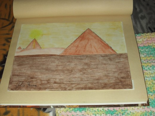Picture from my art scrapbook of a sketch I made of the pyramids.