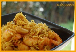 Spicy, tasty Shrimp biryani or prawn biryani
