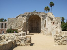 Mission San Juan Capistrano. *The outdoor chapel collapsed during an earthquake killing several people.
