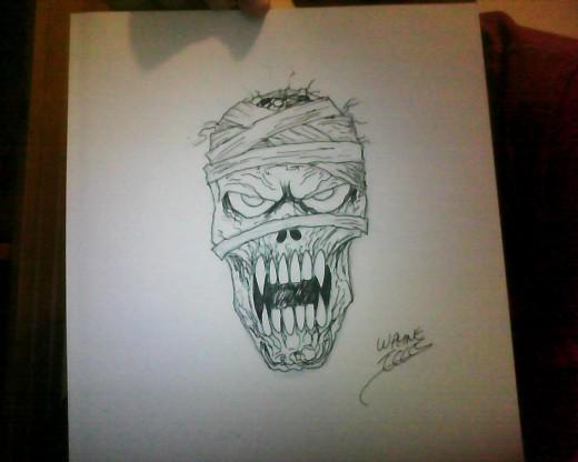 A Mummy head drawing by Wayne Tully 2011.