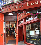 The Elephant House is the coffee shop where J. K. Rowling did much of her writing with baby napping by her side
