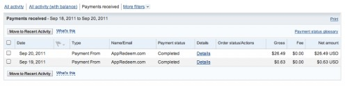My first two payments from AppRedeem from downloading and rating apps!