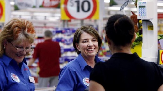 Premier Anna Bligh working at Coles as a checkout chick