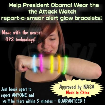 Attack Watch report-a-smear alert glow bracelets