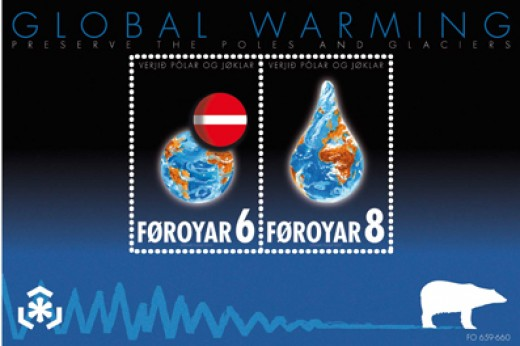 Global warming postage stamps from the Faro Islands.  Image courtesy Wikimedia Commons.