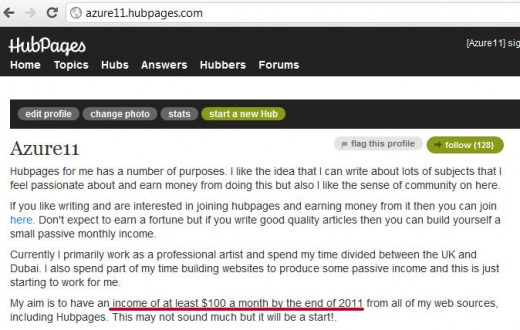 Declared in my profile page - my intention to earn $100 a month.
