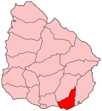 Map location of Maldonado department, Uruguay