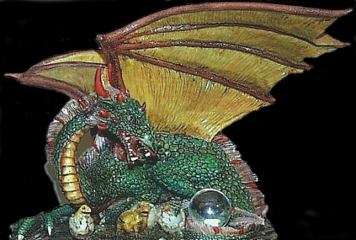 A Green Dragon miniature.  Players used these figurines, and still use them today, in the table top version of Dungeons and Dragons.