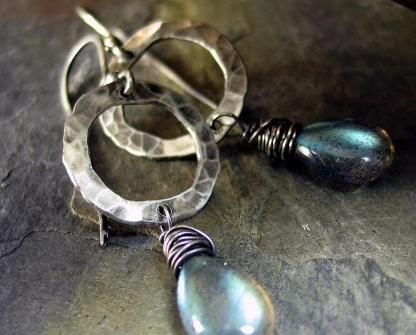 Beautiful 'Tears in the Mist' Sterling Silver with Labradorite Earrings, handcrafted by Cottage Originals