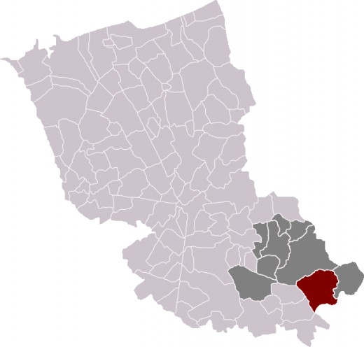 Map location of Steenwerck in Dunkirk 'arrondissement', Nord department, France