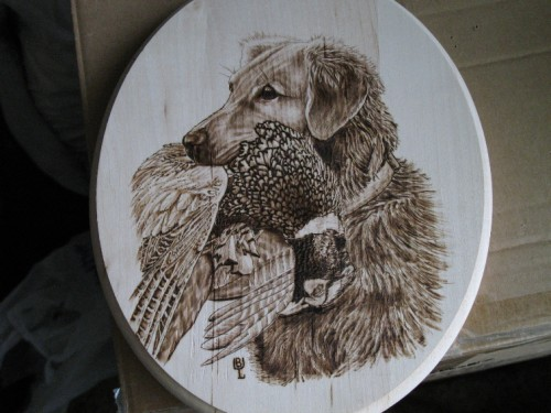 Wood Burning Hunting Dog and Pheasant