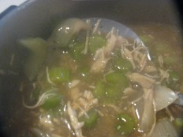 Chicken added to chowmein mixture.
