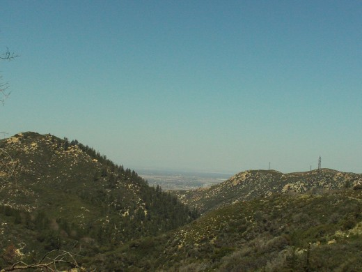 Looking down towards Hesperia, which is about fifteen miles from the backside of the San Bernardino Mountains.