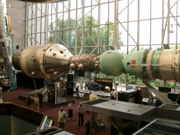 Recreation of the linking of the Apollo and Soyuz spacecraft in 1975