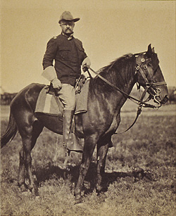 Col. Theodore Roosevelt astride his horse, 1898