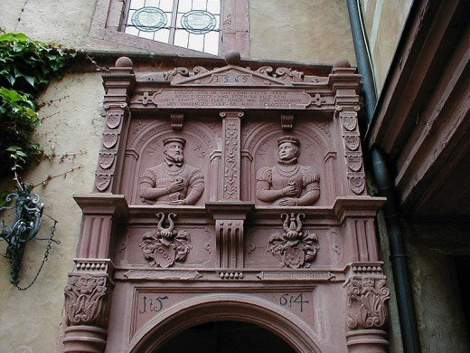 Portal of Mespelbrunn Castle in the inner courtyard.