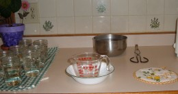 Set up your counter to put jelly into jars. Keep the jars and lids close, as well as a hot pad for setting your dutch oven on and a measuring cup inside a bowl. The bowl is to contain the jelly if a jar breaks.