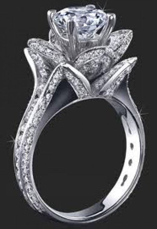 14k white gold & diamond ring in a rose setting