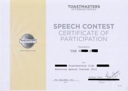 Toastmasters International Speech Contest Certificate of Participation Humorous Speech Contest 2011