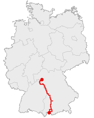 Map of the Romantic Road in western Germany - approximately several hundred kilometers long.