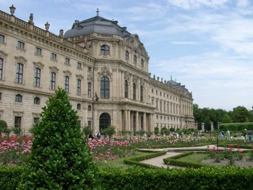 The Residenz - the Palace Residence of the Prince-Bishop of Wurzburg.   Today, these gardens are the home of the Mozartfest which is presented every early June in the city.
