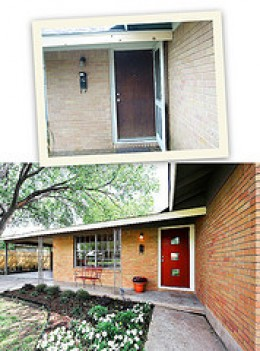 Beautiful red door focal point. Before and after.