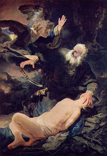 Rembrandt's painting of an angel stopping Abraham from sacrificing Isaac.