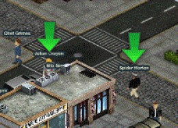 Arrows above specific characters or buildings indicate must-do items. By finishing these arrows you get a bonus which makes it easier to buy more weapons, vehicles and other items