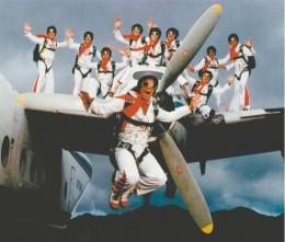 "The ""Flying Elvi"" skydiving team!"
