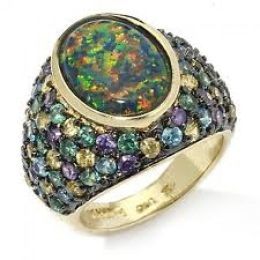 Australian black opal ring w/gemstones