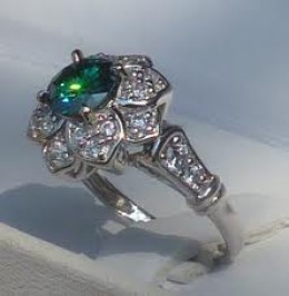 Moissanite ring- stones range from clear to medium green hues