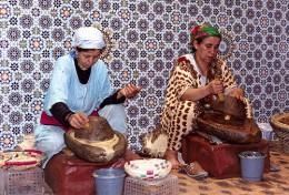 Berber Villagers preparing argan oil.