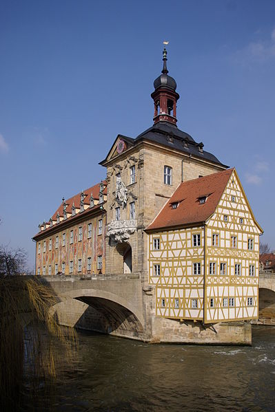 The Rathaus, or city hall, built on the middle of the Obre Bruke, one of the original bridges in Bamberg.