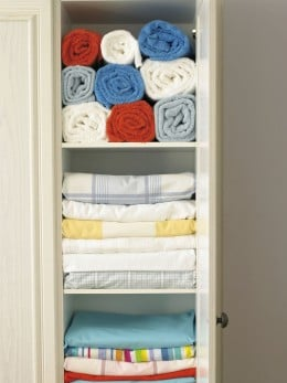 Organized linen closet.