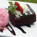 Brownies Au Gratin with Strawberry Ice Cream and Creme Freche
