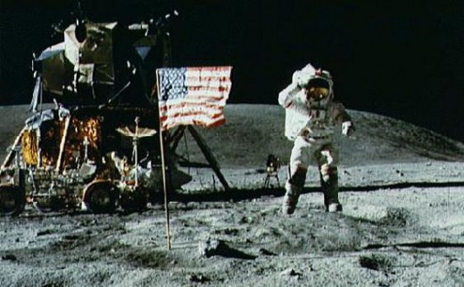 Neil Armstrong waves to the camera after pitching the U.S. flag. But is it actually on the moon?