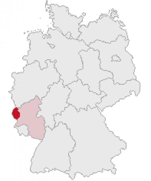 Map location of the Bitburg-Pruem district of the Eifel region.