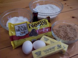 Gather all the ingredients for Nestle Tollhouse cookies according to the recipe.