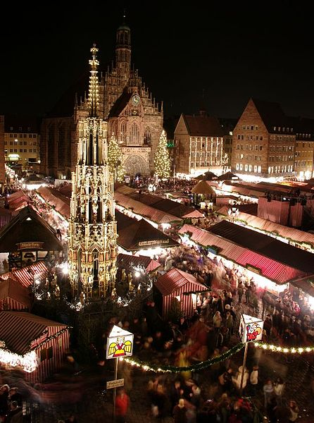 Christkindlesmarkt in the main square in Nuremberg, Germany in December.