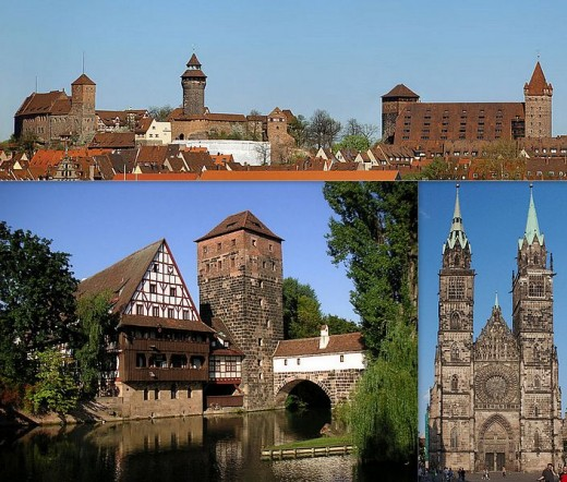 Various scenes from Nuremberg, Germany.  Top picture is the Nuremberg Castle.