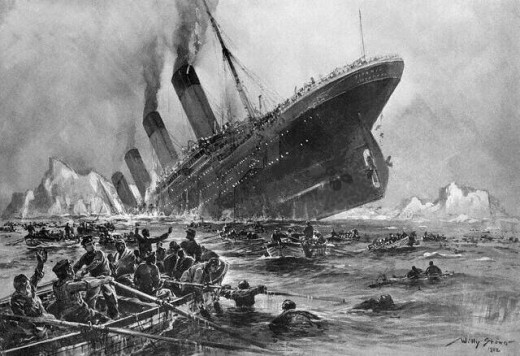 Painting of the Titanic sinking. This picture became public domain after the passing of the painter, and after the copyright expired.