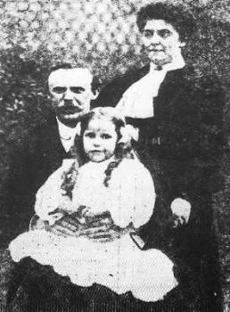 "Miss Nina ""Nan"" Harper at age 6, along with her Father, the Reverend John Harper and her Aunt, Miss Jessie Leitch."
