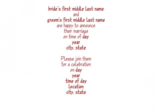Post Wedding Reception Wording Examples