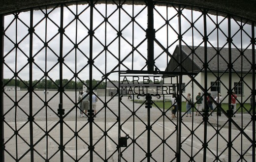 "The front gate of Dachau with the infamous words, ""arbeit mach frei."""