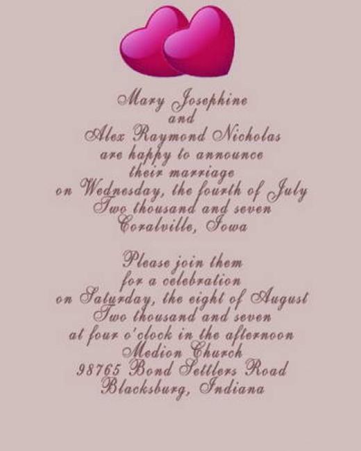 Wedding Invitation Wording Links
