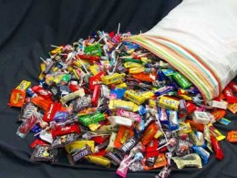 pillowcases full of candy for cool down in the Halloween Workout