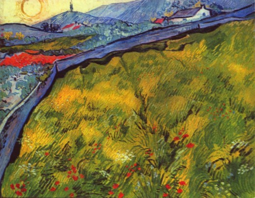 Enclosed Wheat Field with Rising Sun, May 1889 - Vincent Van Gogh