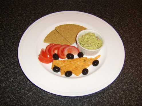 This internationally themed way of serving guacamole sees it paired with Mexicana (peppered) cheese, Scottish oatcakes and a touch of Mediterranean themed salad